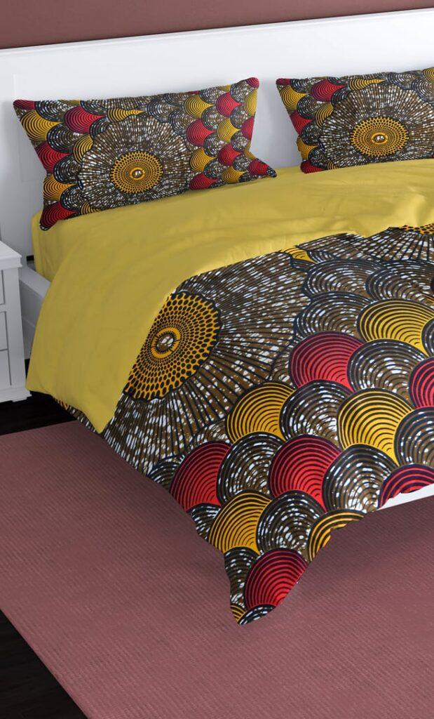 copripiumino conchiglia realizzato con stoffa wax in cotone originaria della Tanzania scatto 2