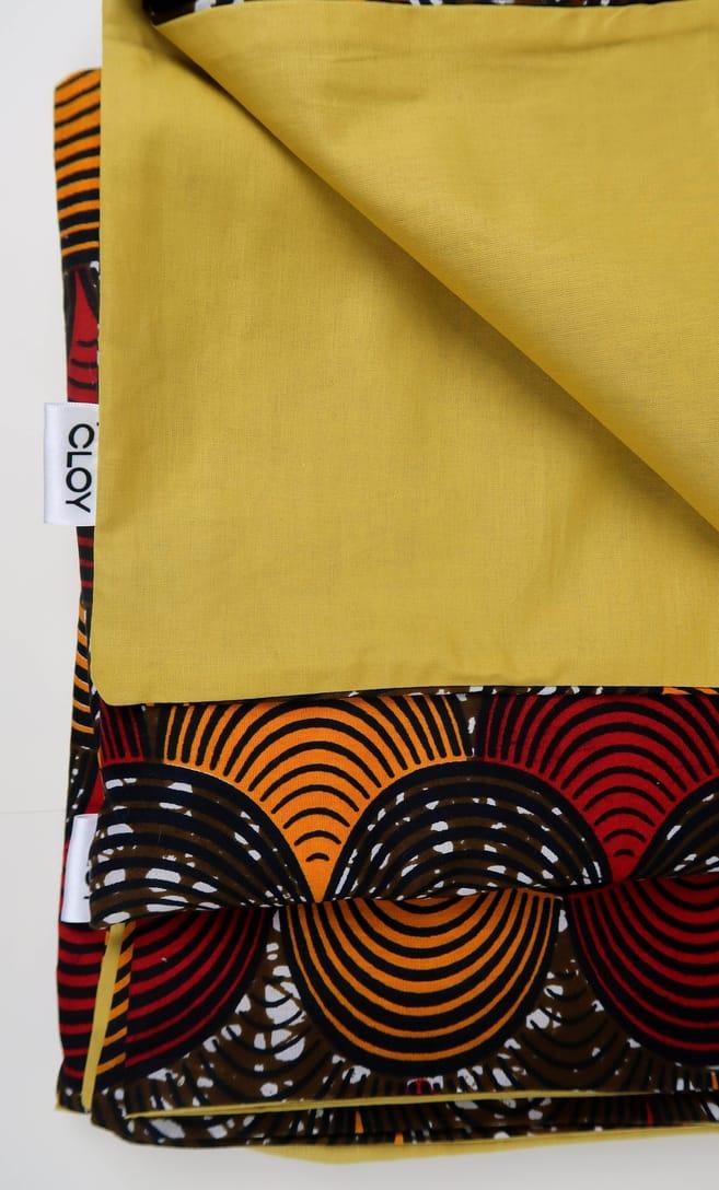 copripiumino conchiglia realizzato con stoffa wax in cotone originaria della Tanzania scatto 3