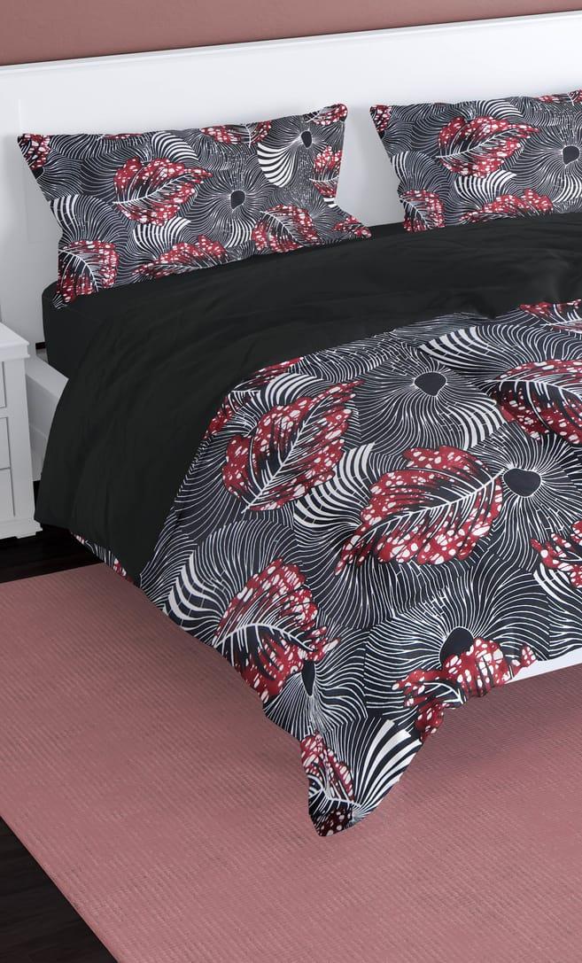 copripiumino foglie realizzato con stoffa wax in cotone originaria della Tanzania scatto 2
