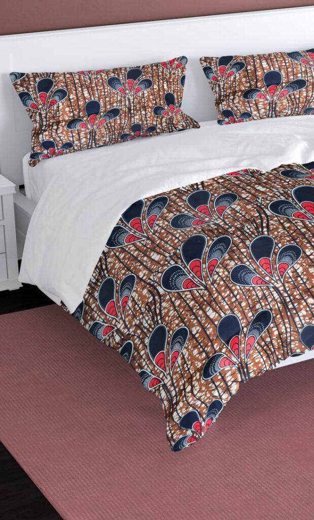 copripiumino pavone realizzato con stoffa wax in cotone originaria della Tanzania scatto 1