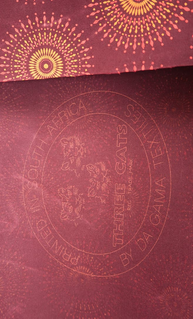 tessuto shweshwe autunno Da Gama originale con logo Three Cats 100% cotone made in Sudafrica scatto 1