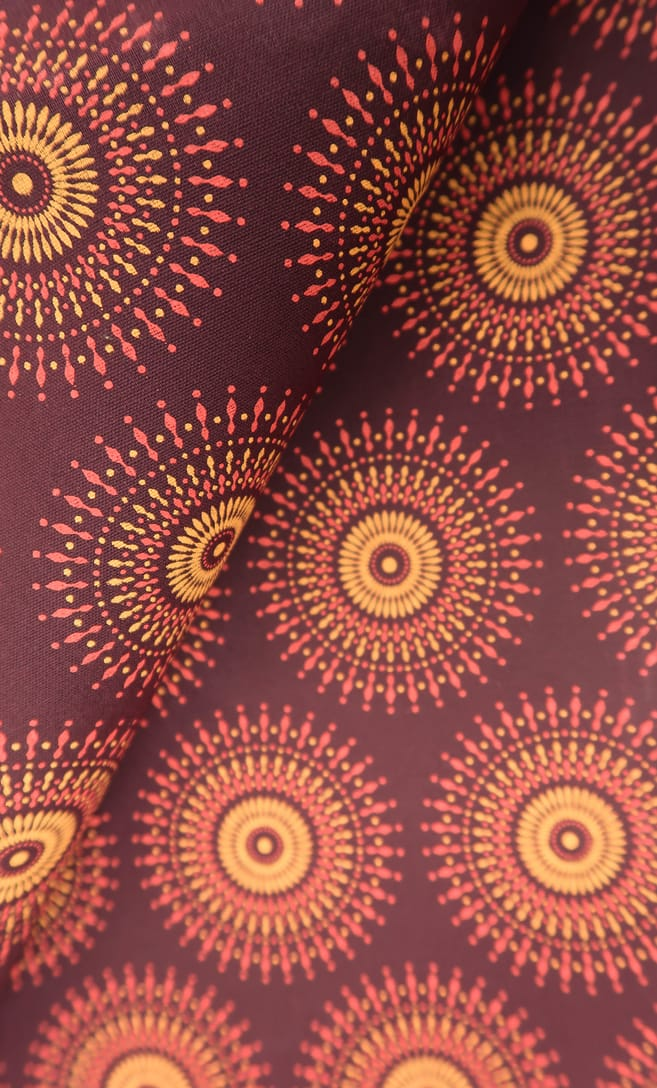 tessuto shweshwe autunno Da Gama originale con logo Three Cats 100% cotone made in Sudafrica scatto 2