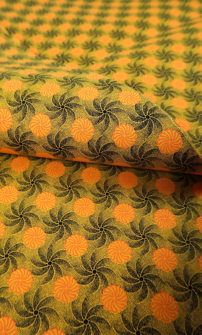 tessuto shweshwe girandola Da Gama originale con logo Three Cats 100% cotone made in Sudafrica scatto 2