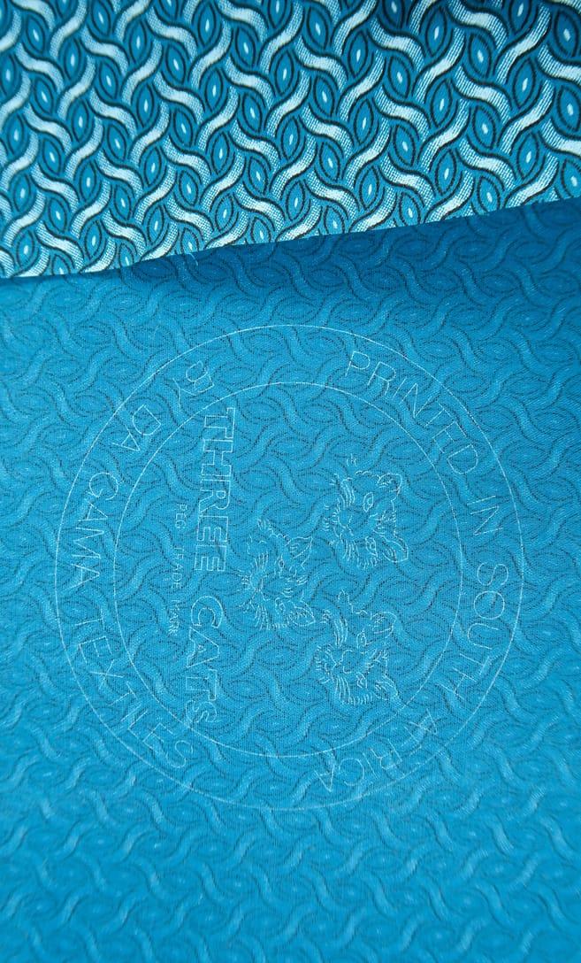 tessuto shweshwe mare Da Gama originale con logo Three Cats 100% cotone made in Sudafrica scatto 1