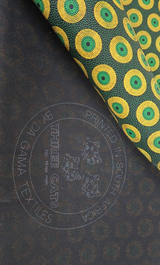 tessuto shweshwe smeraldo Da Gama originale con logo Three Cats 100% cotone made in Sudafrica scatto 1
