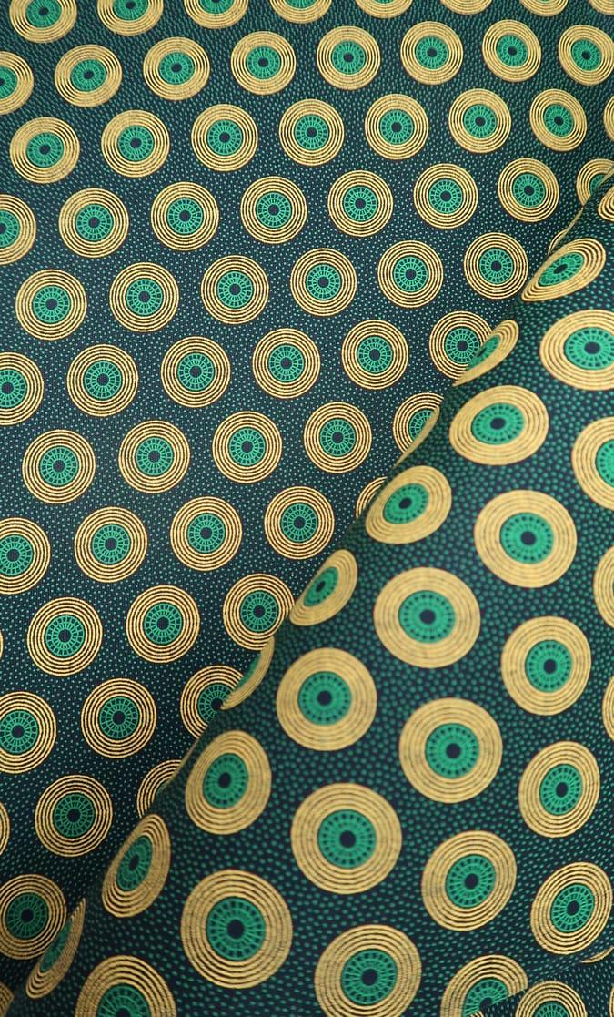 tessuto shweshwe smeraldo Da Gama originale con logo Three Cats 100% cotone made in Sudafrica scatto 2