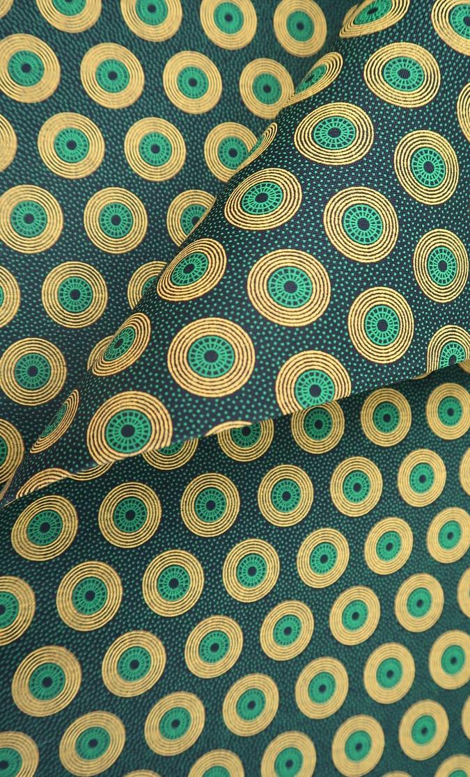 tessuto shweshwe smeraldo Da Gama originale con logo Three Cats 100% cotone made in Sudafrica scatto 3