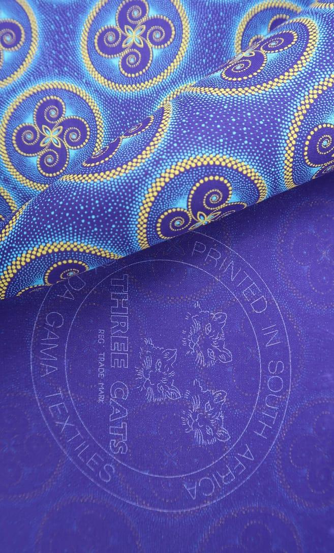 tessuto shweshwe vento Da Gama originale con logo Three Cats 100% cotone made in Sudafrica scatto 1