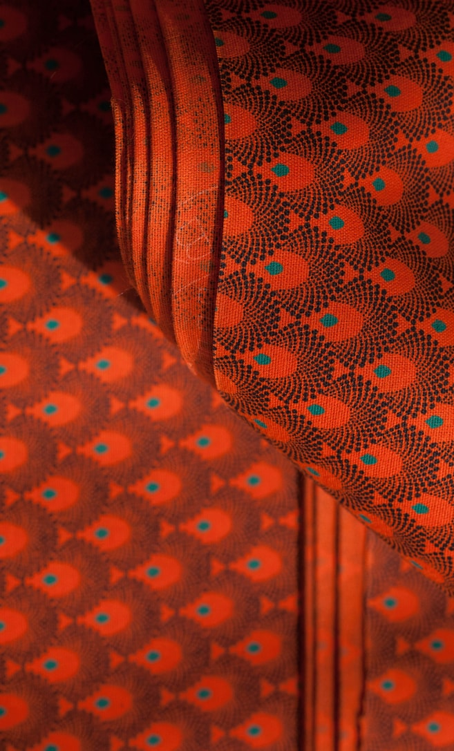 tessuto shweshwe arancia Da Gama originale con logo Three Cats 100% cotone made in Sudafrica scatto 4