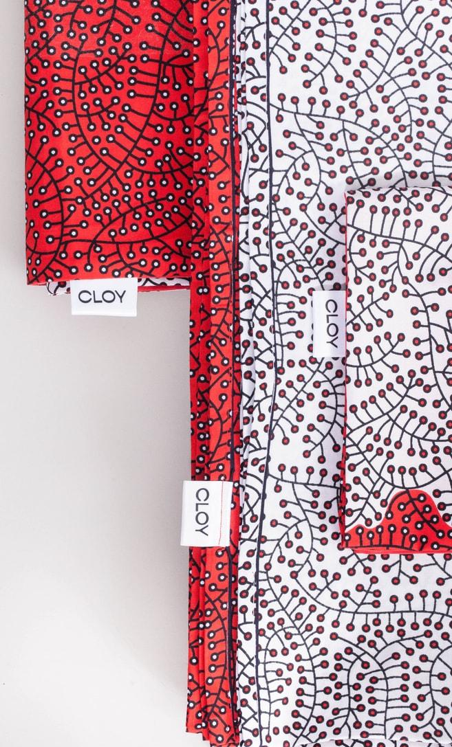 copriletto ciliegia realizzato con stoffa wax in cotone originaria della Tanzania scatto 4